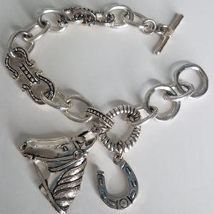 "Jewelry - SALE Horse charm horseshoe Bracelet Silver tone 8"""